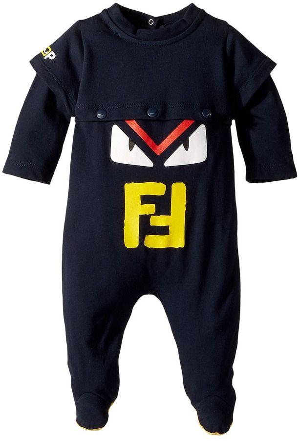 ce8d515db Fendi Long Sleeve Monster Eyes Logo Footie Boy's Jumpsuit & Rompers One  Piece