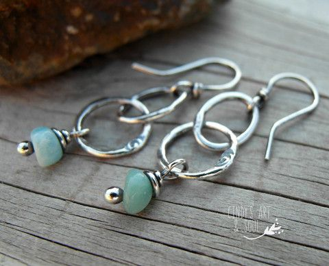 Amazonite Gemstone Earrings Fine Silver Hoops