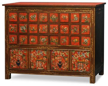 Hand Painted Tibetan Chest Of Drawers Asian Dressers Chests And Bedroom