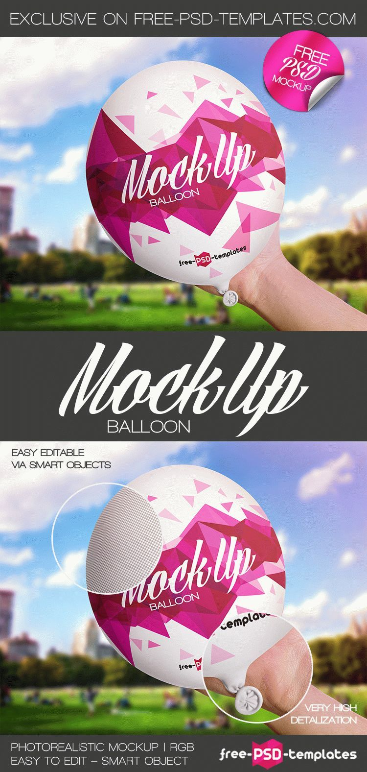 Free Balloon Mock-up in PSD   Free PSD Templates   #free #photoshop ...