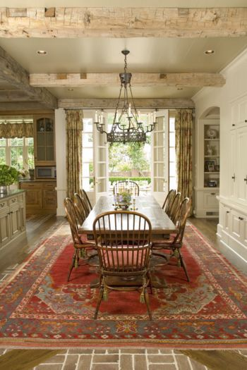 Beautiful Breakfast Room With Painted Ceiling Rustic Area RugsFarmhouse Dining