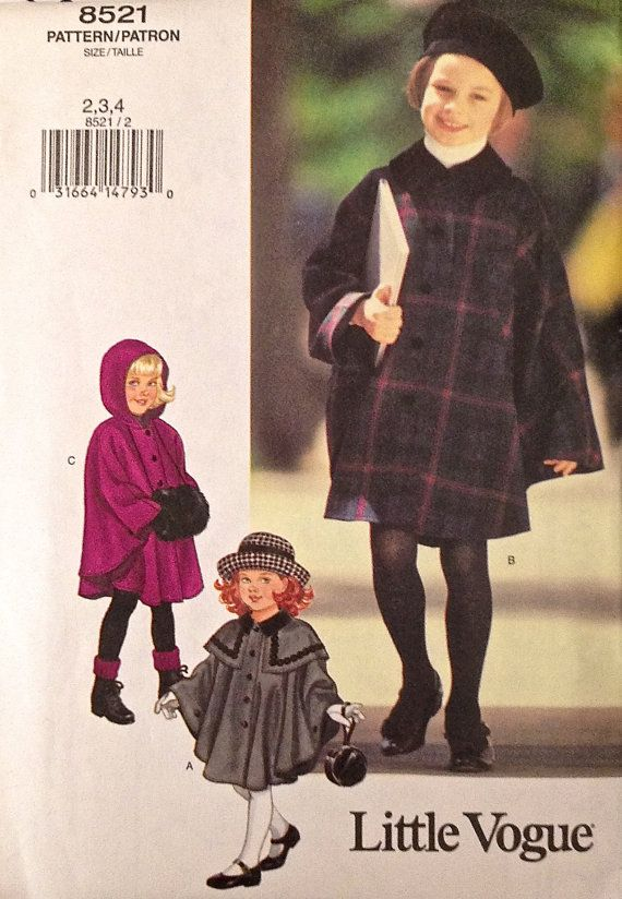 Vogue Cape Sewing Pattern Girls Capes With Or Without Hood