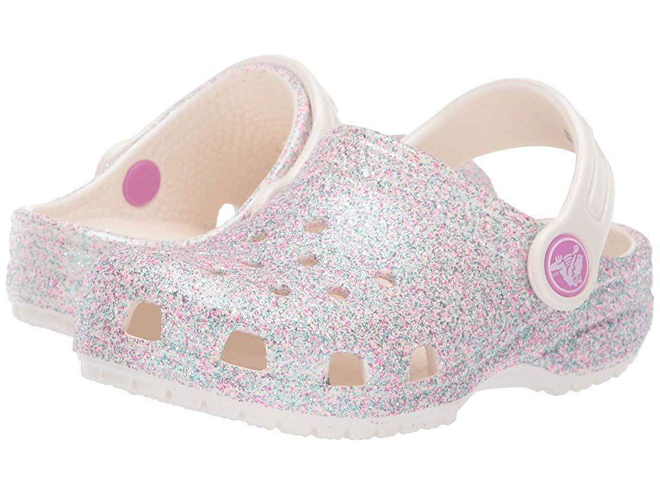 d06dd0f95 Crocs Kids Classic Glitter Clog (Toddler Little Kid) (Unicorn Oyster  Glitter) Kids Shoes. Crocs comfort Level 1. The Crocs Kids Classic Glitter  Clog is ...