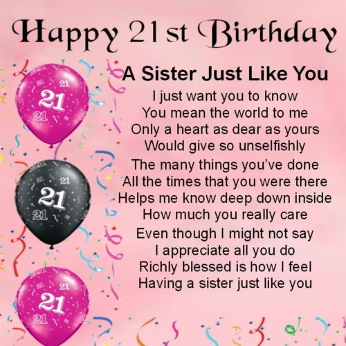 21 Birthday Quotes   Personalised Coaster Sister Poem 21st Birthday Free Gift Box