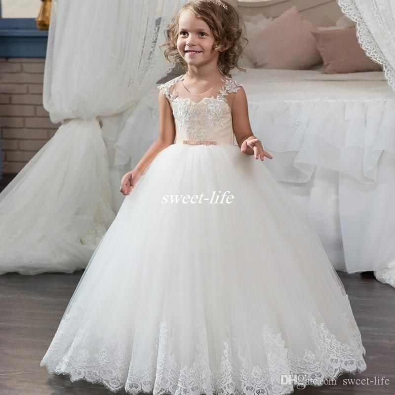 Perfect New Girls Ball Gown White Flower Girl Dresses For Wedding Tulle Appliques Lace Buttons Back Children Long Holy First Communion Dresses