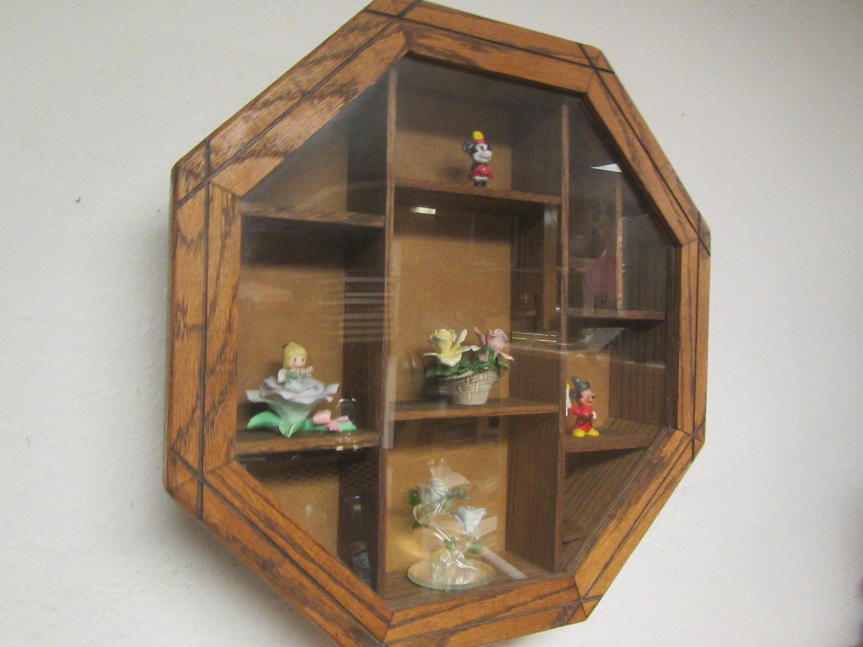Octagonal Oak Shadow Box With Glass Door 8 Sided Wood Curio Shelf Wall Display Case With Glass Door 8 Sided Wall Display Case Metal Shelves Shelf Decor
