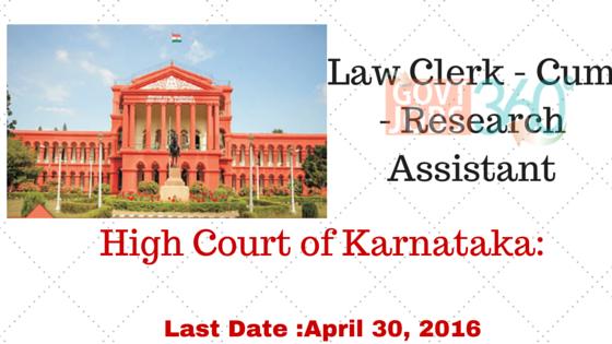 High Court of Karnataka: Law Clerk - Cum - Research Assistant
