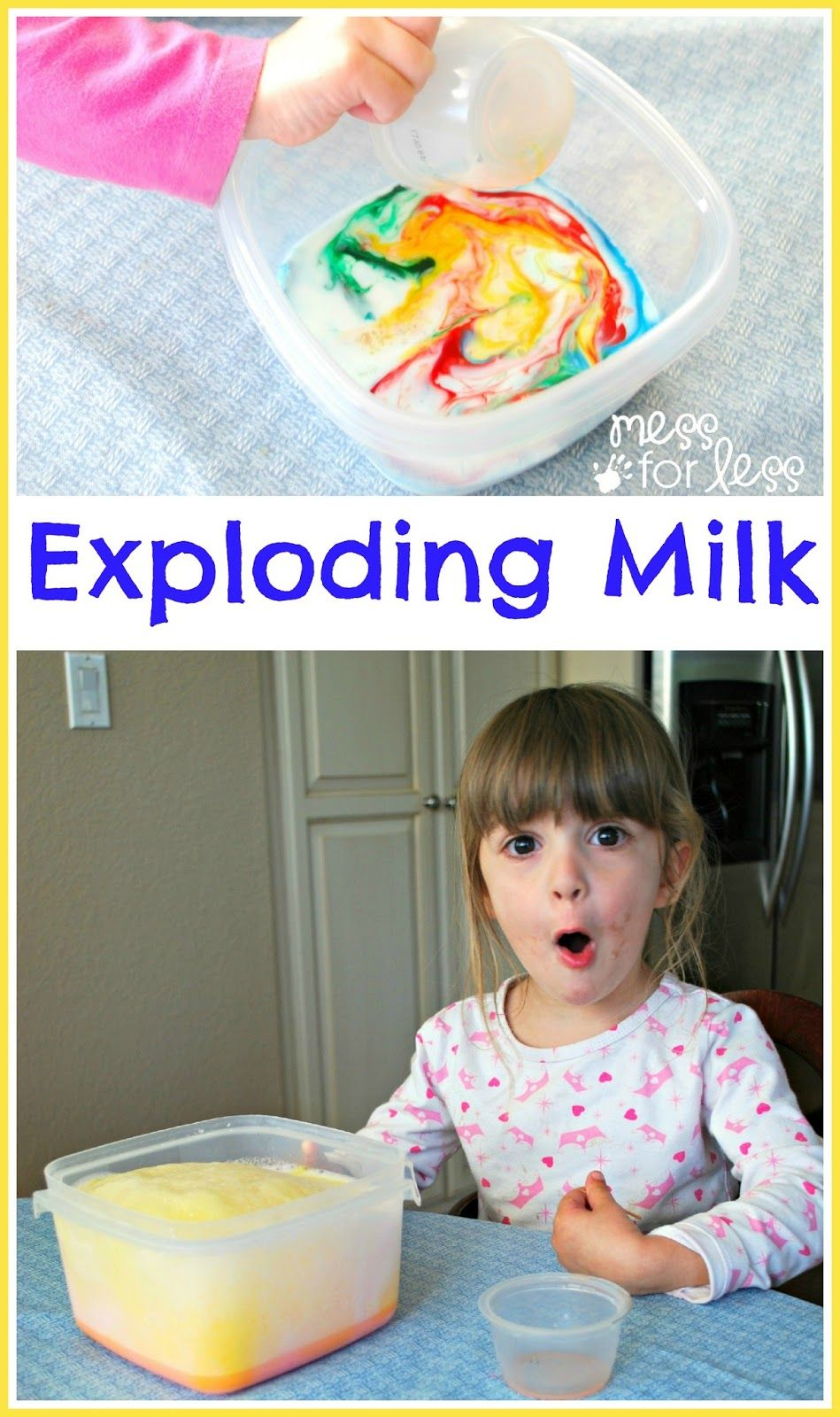 Play and learn with science fun for kids - Find out how to make Exploding Milk in vibrant colors. My kids were amazed!