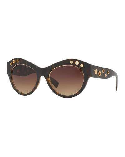 21ba7c6ac8ce Versace Grommet Cat-Eye Sunglasses