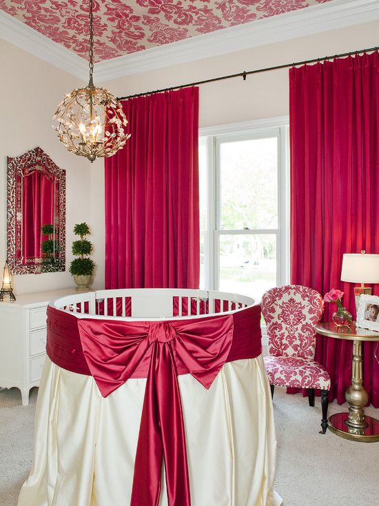 An Elegant Babys Nursery With Red Colour Theme What A Timeless And Stylish Room Baby