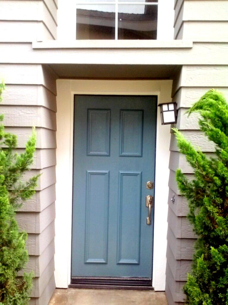 Blue front door beach house painting | The Doors - Painted Doors ...