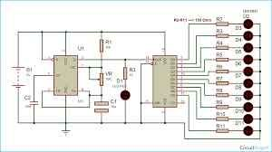 led chaser circuit diagram using ic 555 and cd 4017 chasng led