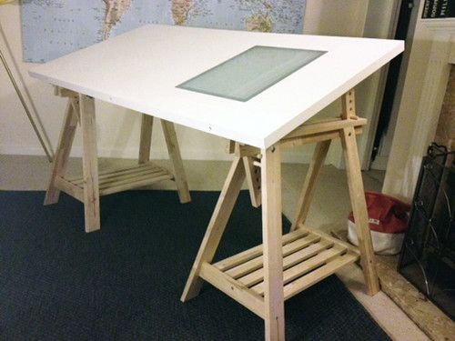 Trestle Table Desk Drawing Board With Light Box Window Ikea Chair Interior Design Office Space Ikea Chair Office Interior Design