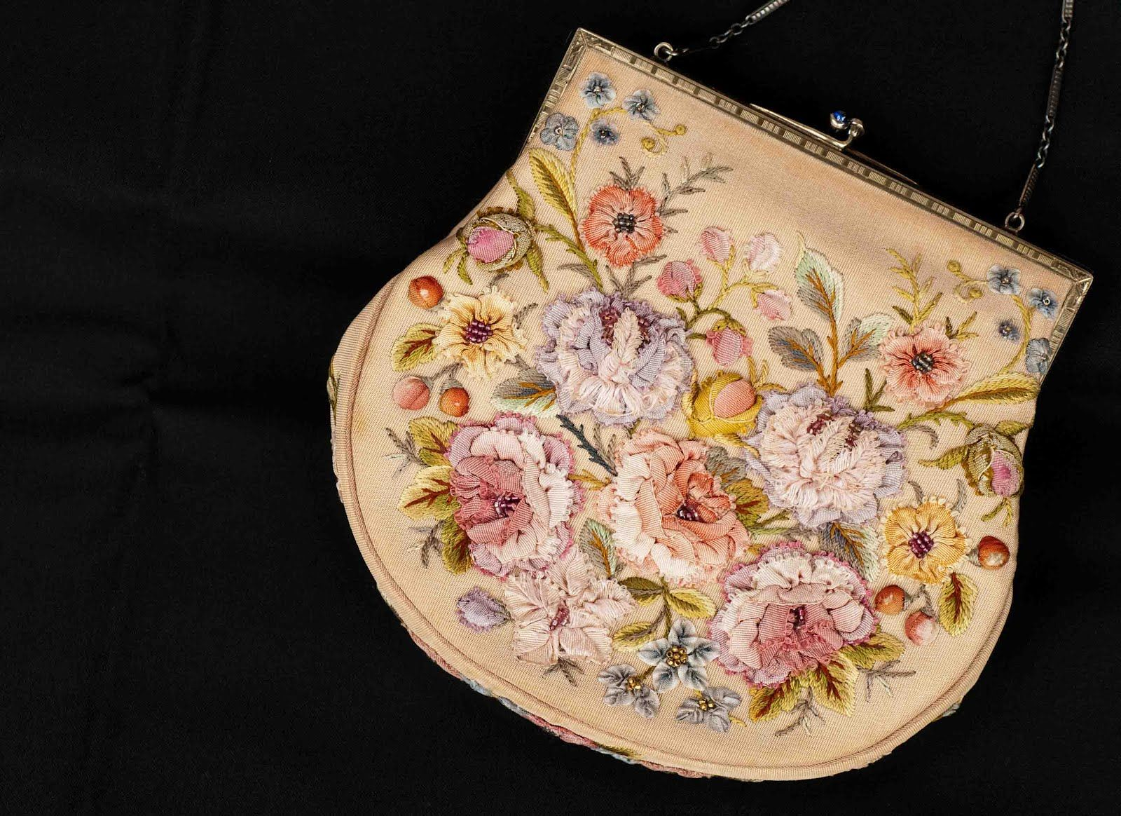 Antique purse  Plays With Needles: ribbonwork  More pictures and a lovely article how we look at what we see.