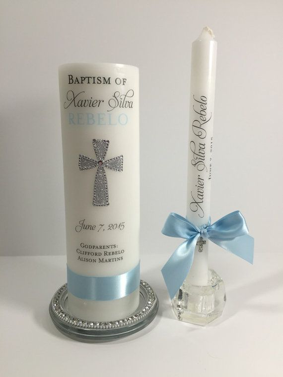 Girl Mini Pillar Baptism Candle Gift Decoration Keepsake Personalized Baby Boy