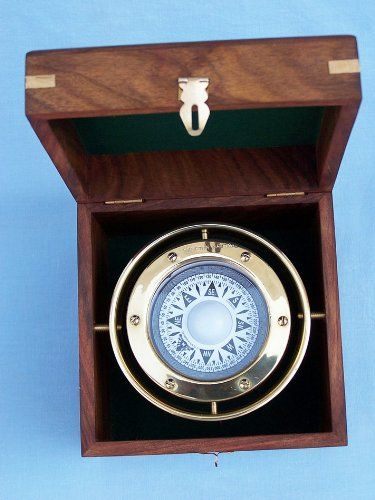 Solid Brass Gimbal Compass W Rosewood Box 4 5 Navigation Compass Old Compass Boat Compass Brass Compass Pocket C Rosewood Box Compass Gift Nautical Decor
