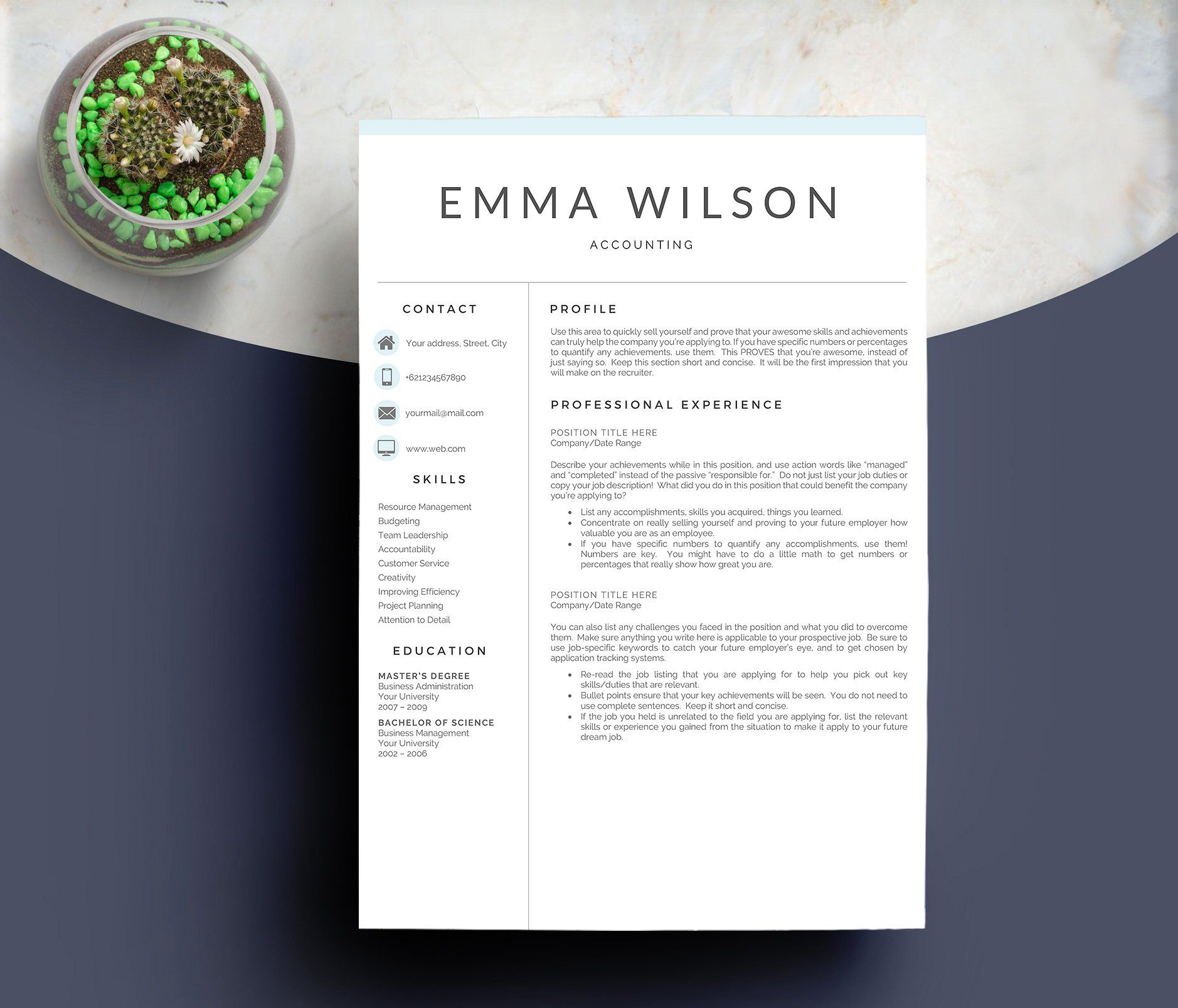 Professional Resume Template 5 Pages #helping#organize