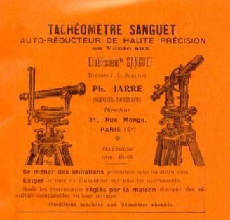 publicité pour le tachéomètre Sanguet