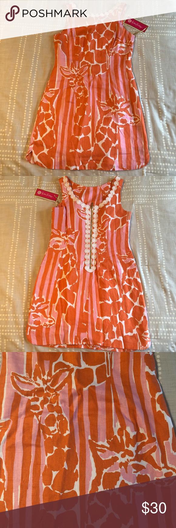 Lilly Pulitzer For Target Orange Dress Nwt Sz 4 Giraffe Print Dress Orange Dress Clothes Design [ 1740 x 580 Pixel ]