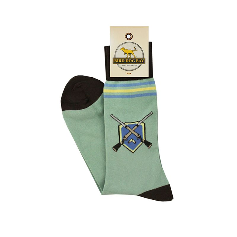 Get the conversation started at the hunt club this season with Bird Dog Bay's new mid-calf sporting socks. They are 70% Peruvian Prima Cotton, 29% Nylon, 1% Spandex. One size fits most.   Made by Bird Dog Bay Available in Hunt Club Pattern Available in Mint