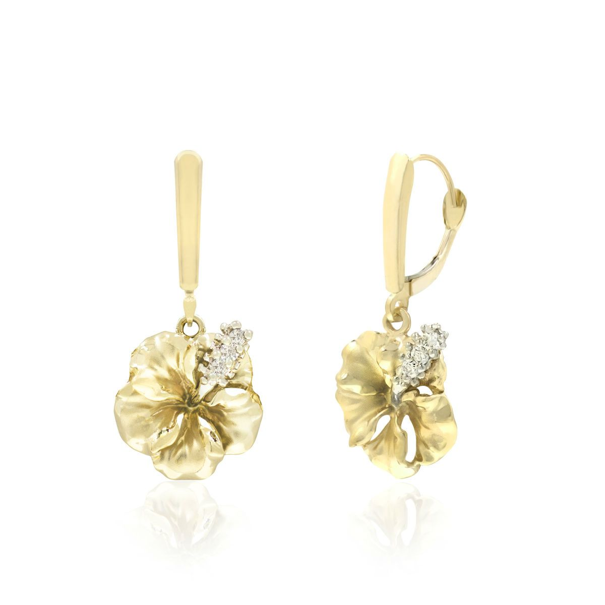 14k Gold Hibiscus Diamond Leverback Earrings 16mm 0 12tcw Diamonds Available In A Pendant As Well As Rose Gold And White Earrings Spring Jewelry Jewelry