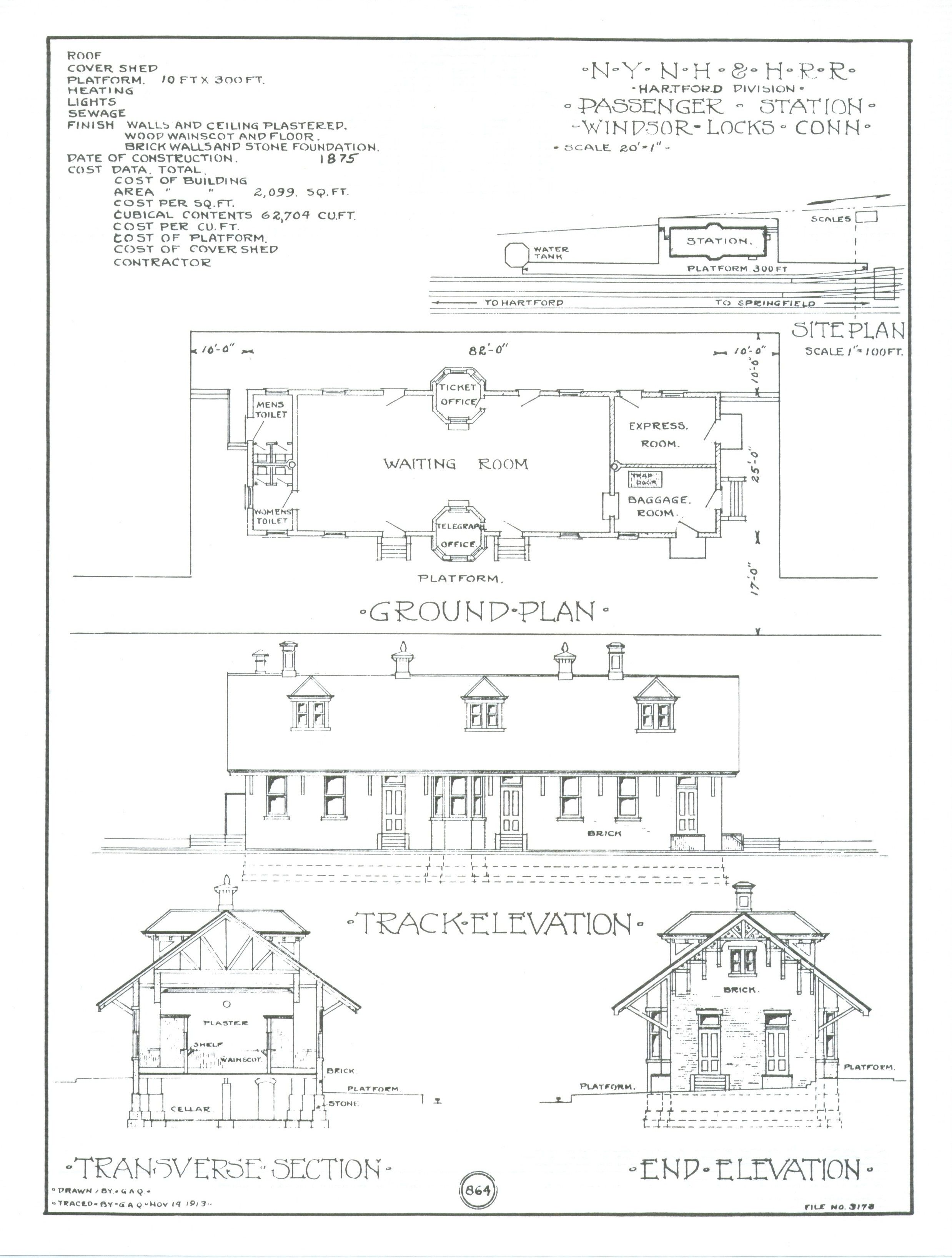 Train depot blueprints windsor locks preservation for Blueprint scale