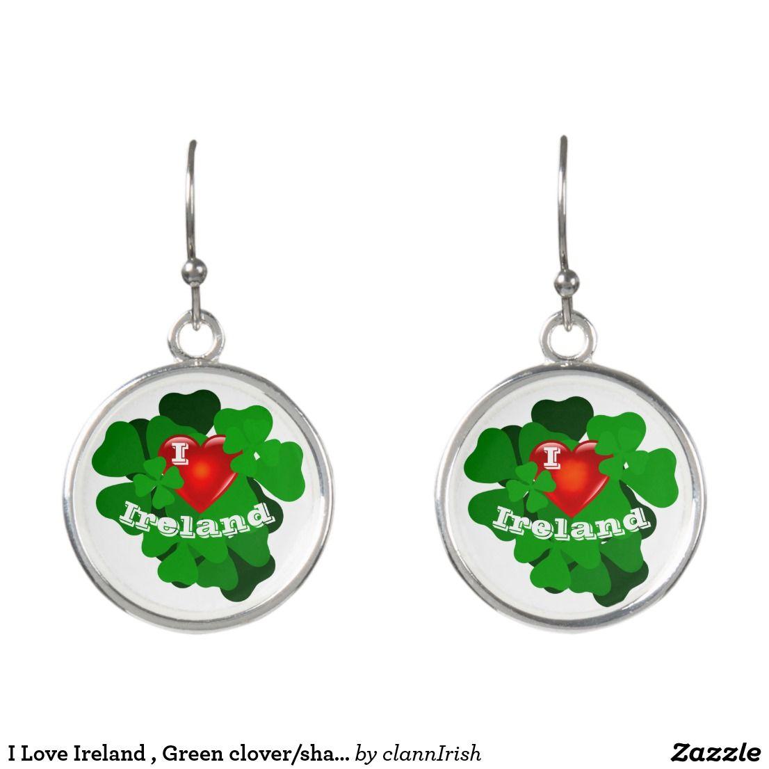 I Love Ireland , Green clover/shamrock, red heart Earrings