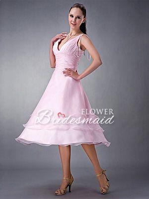 Pink Tea Length A-Line Organza V-Neck Sleeveless Bridesmaid Dress - US$ 89.99 - Style B0072 - Flower Bridesmaid