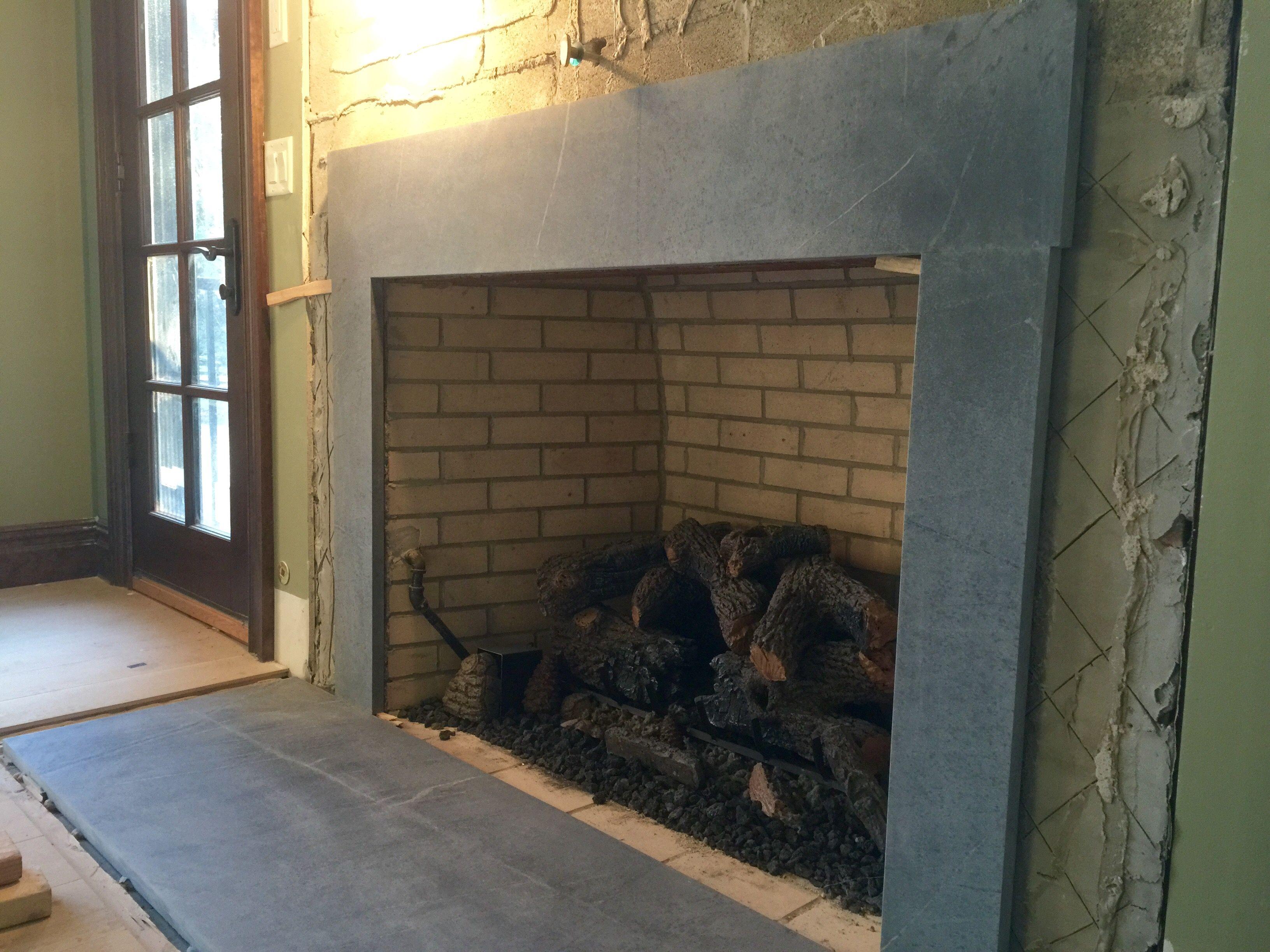 Untreated Soapstone Hearth By Www Gardenstatesoapstone Com Fireplace Hearth Fireplace Surrounds Fireplace Redo
