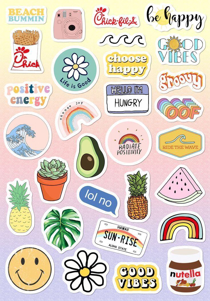 VSCO Light Pink Blue Yellow Funny Stickers for Girls for Bottle Phone Case Lapto…