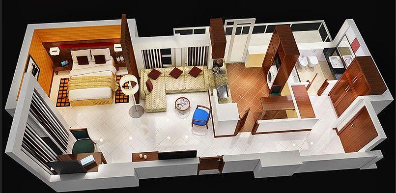 Departamentos peque os planos y dise o en 3d planos for Soluciones apartamentos pequenos