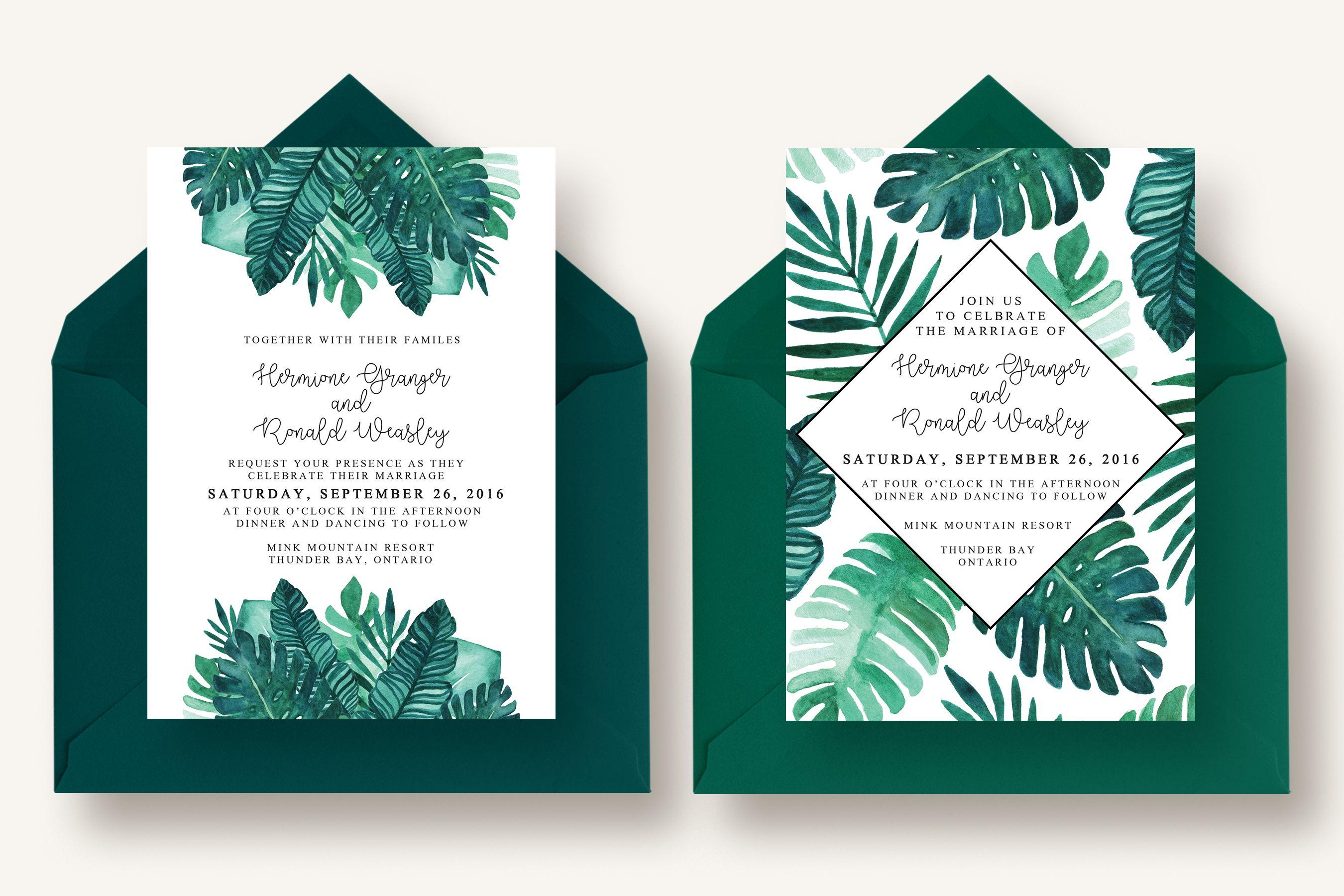 11++ Tropical wedding invitations suite info