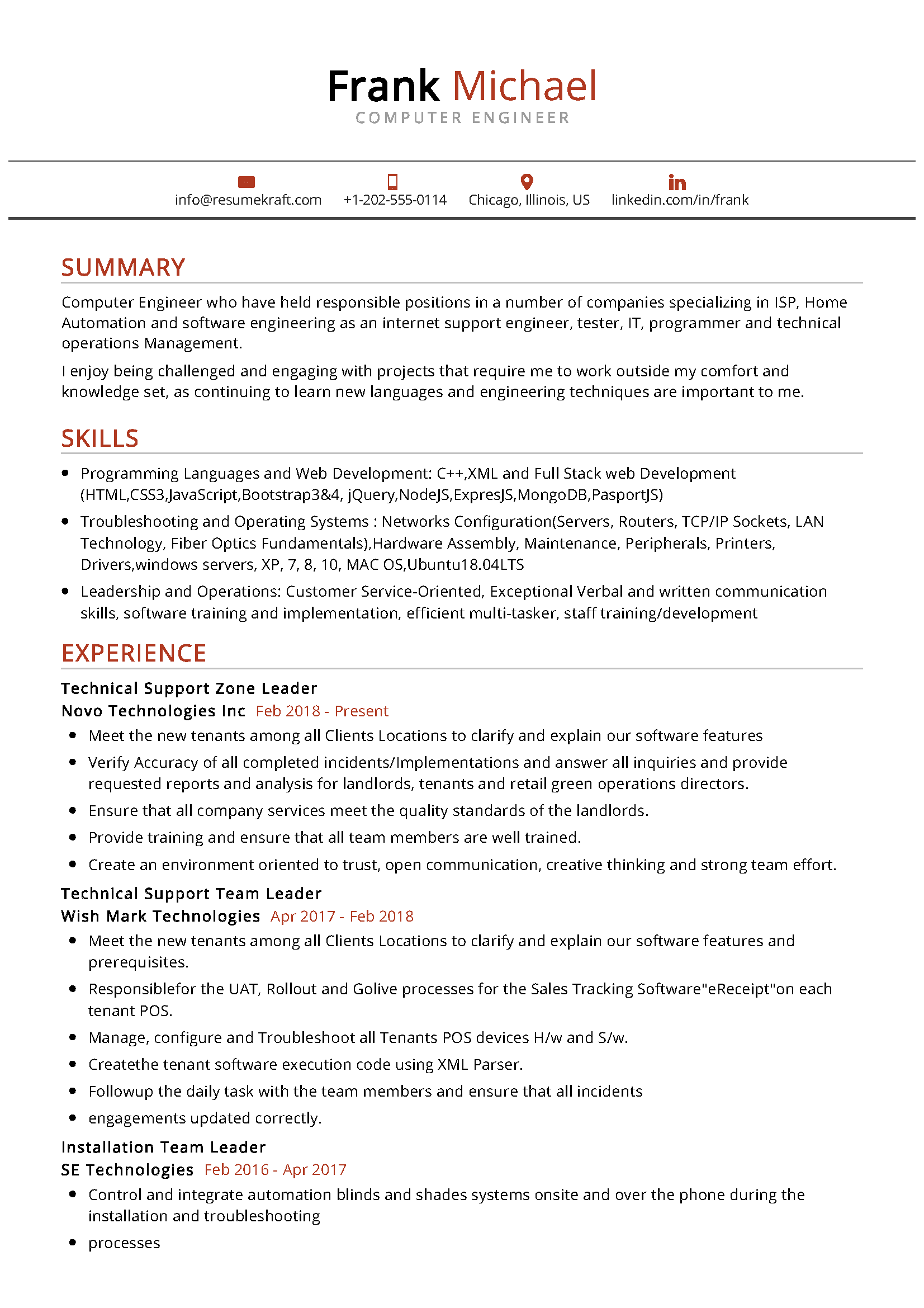 Computer Engineer Resume in 2020 Computer science