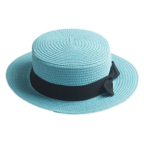 2845620b8df23 Kids  Costume Hats - Elee Children Girls Straw Bowler Derby Hat Round Flat  Brim Boater Cap     Click image to review more details.