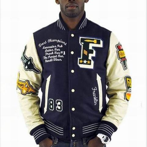 cheap franklin marshall mens letter f navy baseball jacket click image to close