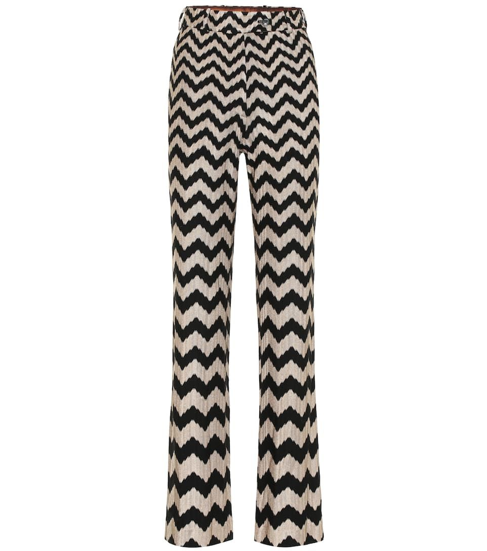 Chevron Knit Flared Pants In Black And White Sponsored Flared Knit Chevron Flare Pants Wide Leg Denim Pants