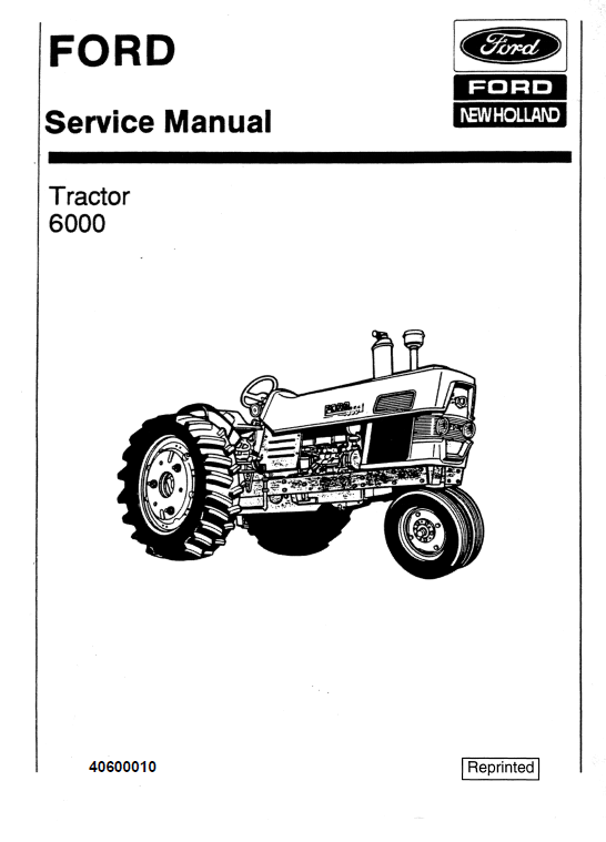 Ford 6000 Series Tractor Service Manual New Holland Tractor