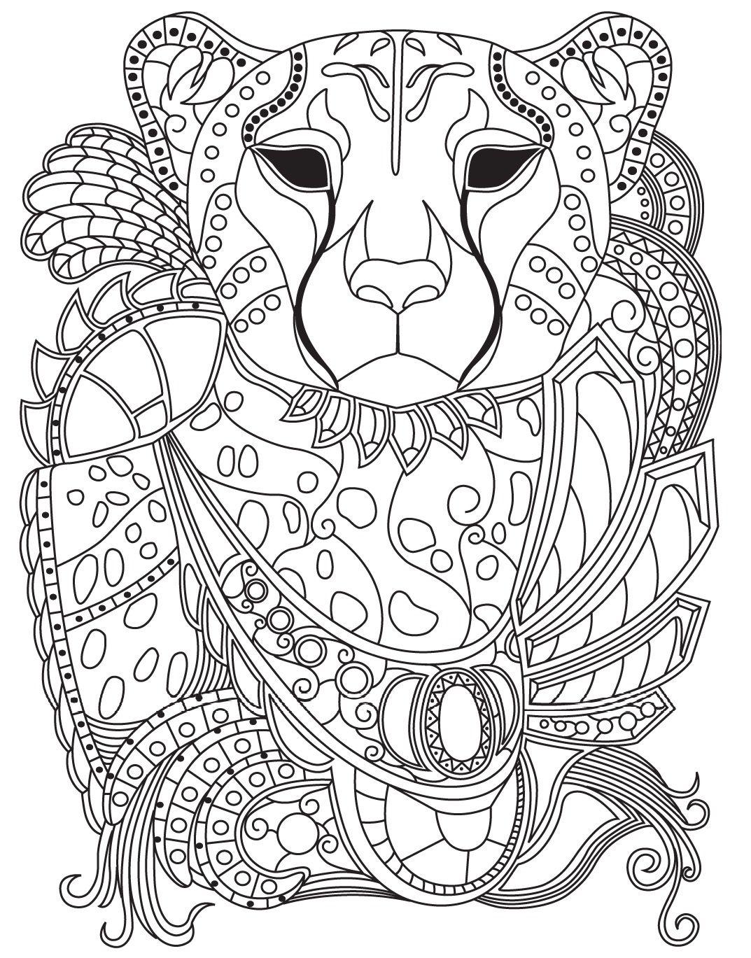 leopard  colorish coloring book for adults mandala relax