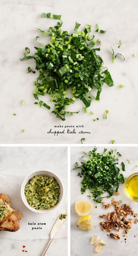 kale stem pesto: kale stems, garlic, walnuts/pine nuts, basil/parsley, lemon, s&p, red pepper flakes, olive oil
