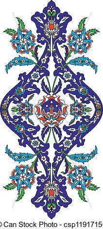 Clipart Vector Of Traditional Oriental Art Ottoman Classical Pattern Of Hand Csp11917156 Search Clip Art Illustrati Islamic Art Pattern Turkish Art Art