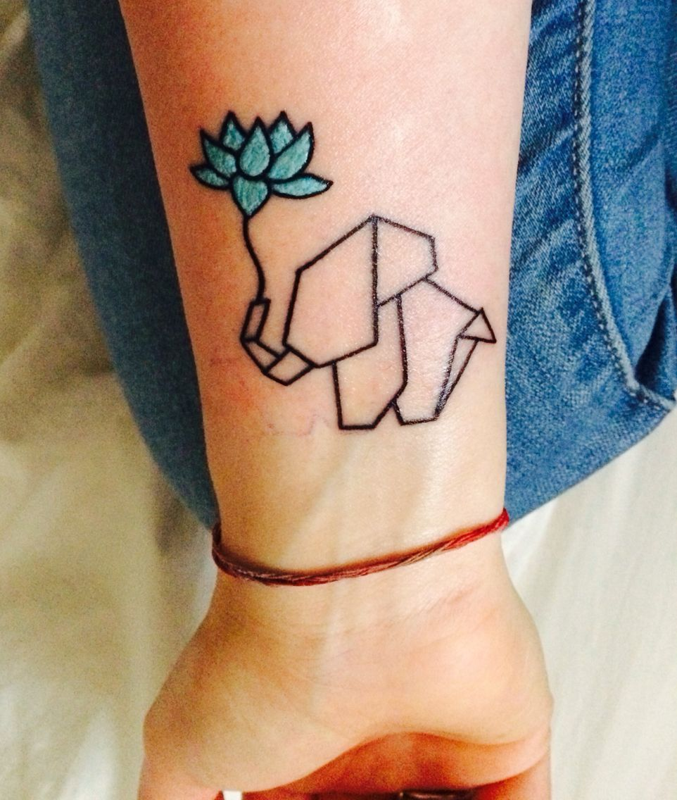 My First Tattoo Origami Elephant With Blue Lotus Flower Minimalist Spiritual Simple