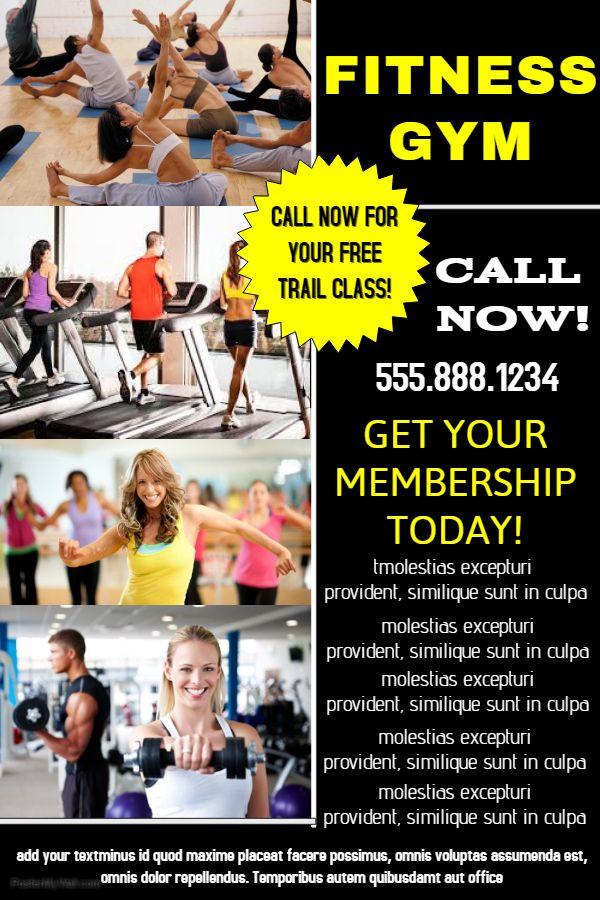 Fitness Gym Advertisement Poster Template Fitness