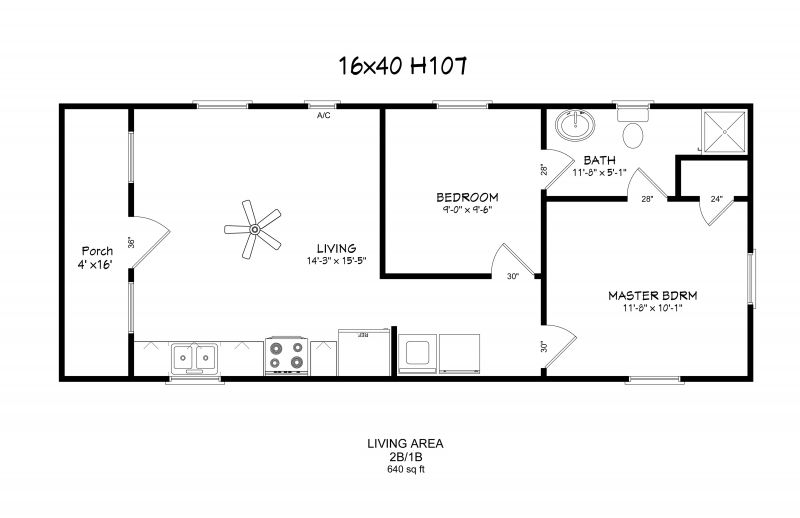 12 By 40 House Plans Windows Full Bath W D Hookup