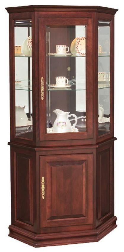 Hardwood Corner Curio Cabinet With Enclosed Base From Dutchcrafters