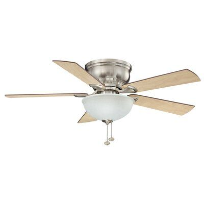 Canora Grey 44 Scruggs Flushmount 5 Blade Ceiling Fan Light Kit Included Ceiling Fan Brushed Nickel Ceiling Fan Hugger Ceiling Fan