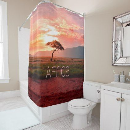 Africa Sunset African Shower Curtain | Zazzle.com, #Africa #African #Curtain #Shower #Sunset #Zazzlecom