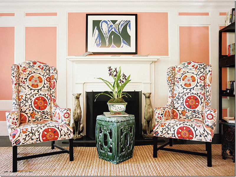 This Brunschwig And Fils Suzani Dzhambul Is Very Por As Seen On These Armchairs In Lonny