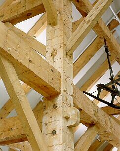 Mortise And Tenon Construction In A Timber Framed Barn