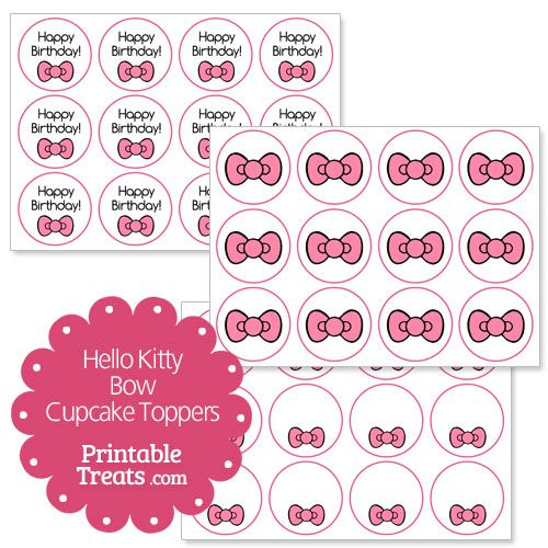 Free pink hello kitty bow cupcake toppers from for Hello kitty cupcake topper template