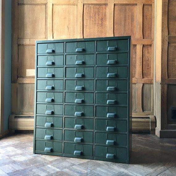 Industrial Storage Cabinet, Metal Parts Cabinet, Hobart, 27 Drawers,  Industrial Furniture